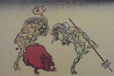 Ukiyo-e print of yōkai, by Kawanabe Kyōsai