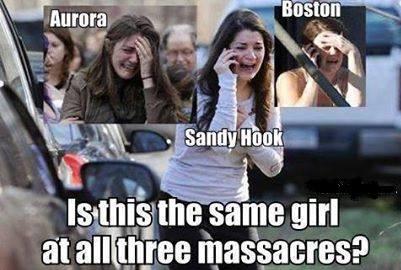Crisis Actor - Fact Ficiton - Aurora Boston Sandy Hook Same Girl