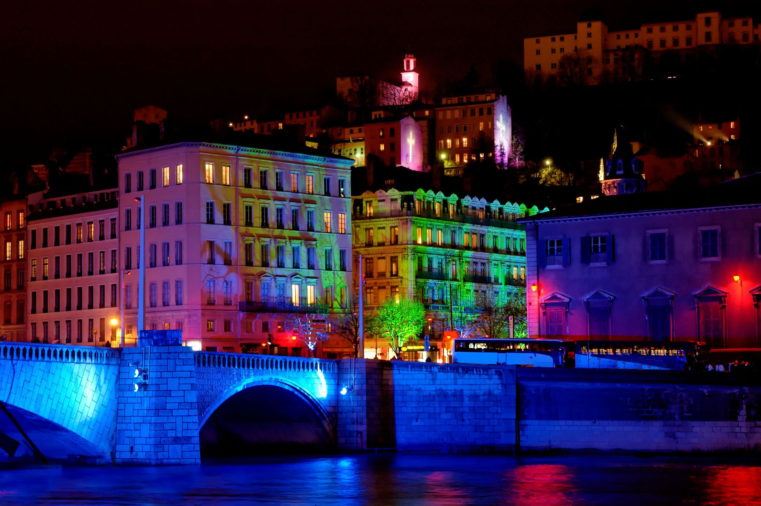 Lyon Festival Of Light - Bonaparte bridge