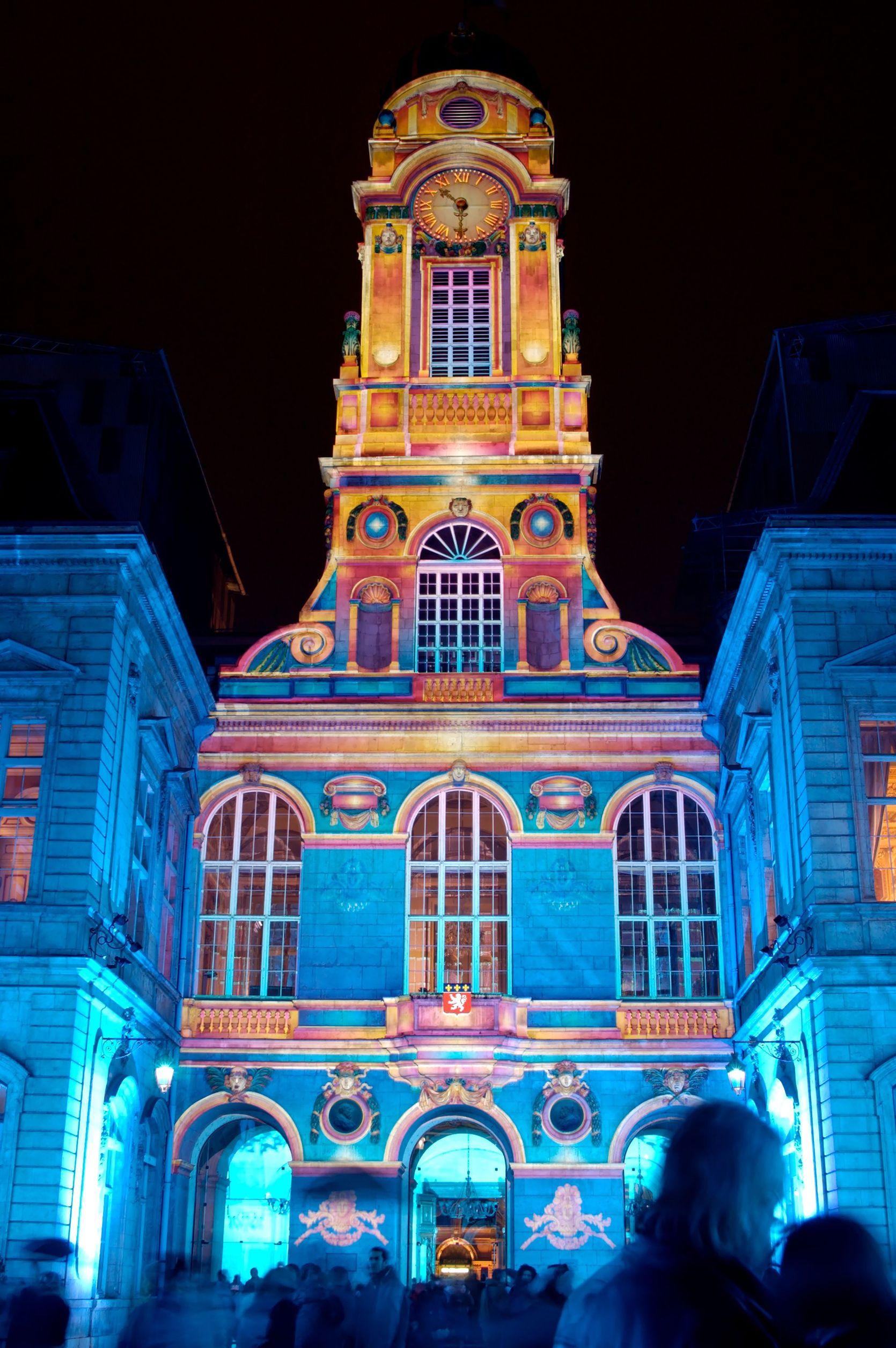 Lyon Festival Of Light - blue clock