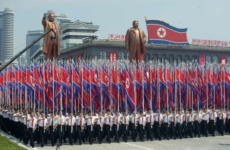 North Korea - Military Parade - flags