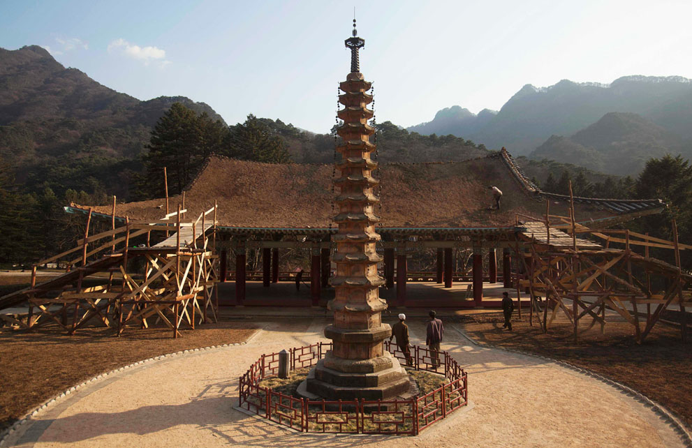 North Korea - Pohyon Temple at the foot of Mount Myohyang