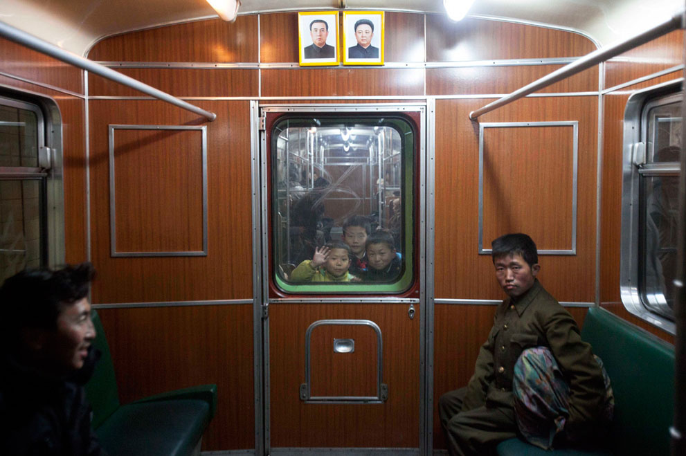 North Korea - subway car window in Pyongyang