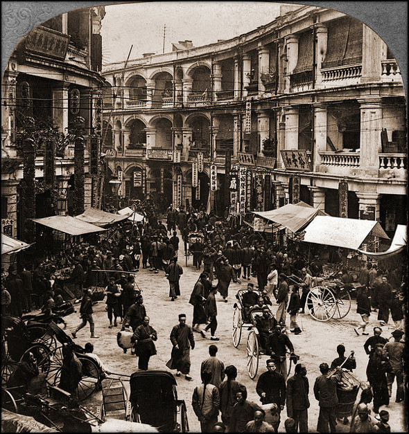 Old Photos Of China - Queen's Road On Chinese New Years Day, Hong Kong, China 1902