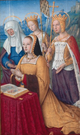 Jean Bourdichon - Anne of Brittany with her patron saints, Anne, Ursula and Catherine