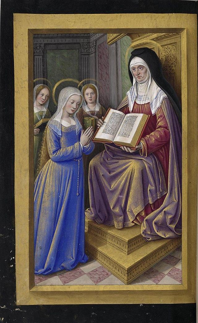 Jean Bourdichon - Grande Heures - St Anne teaching Mary to read