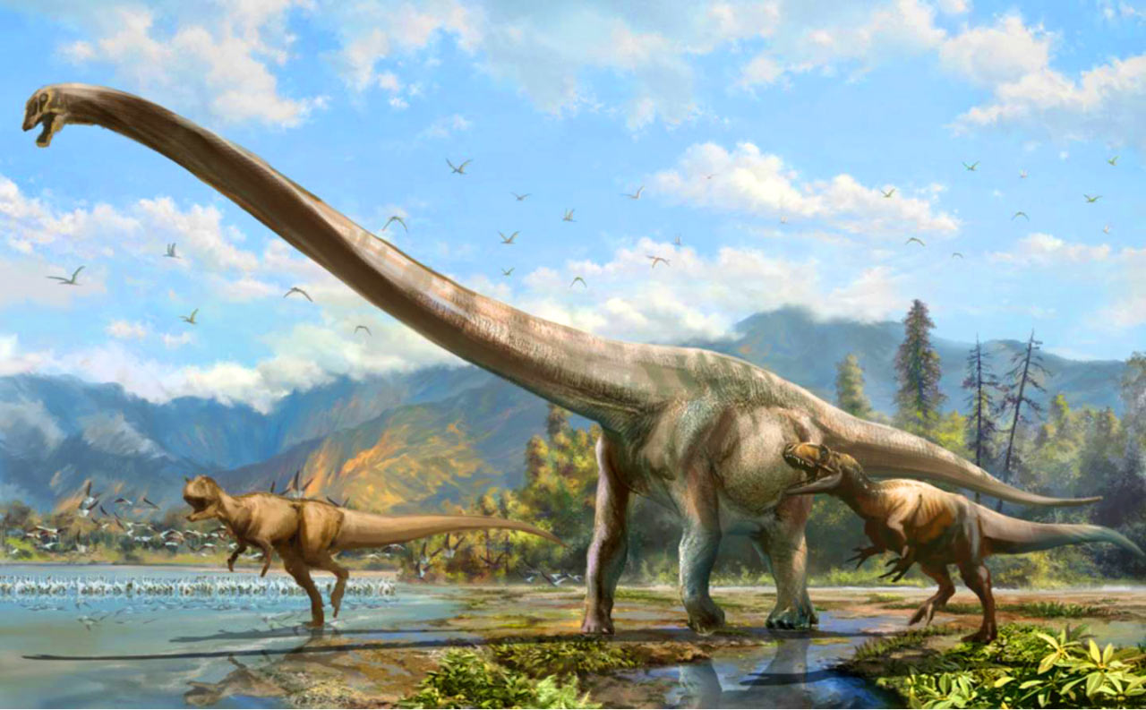 Qijianglong - being attacked - long neck dinosaur