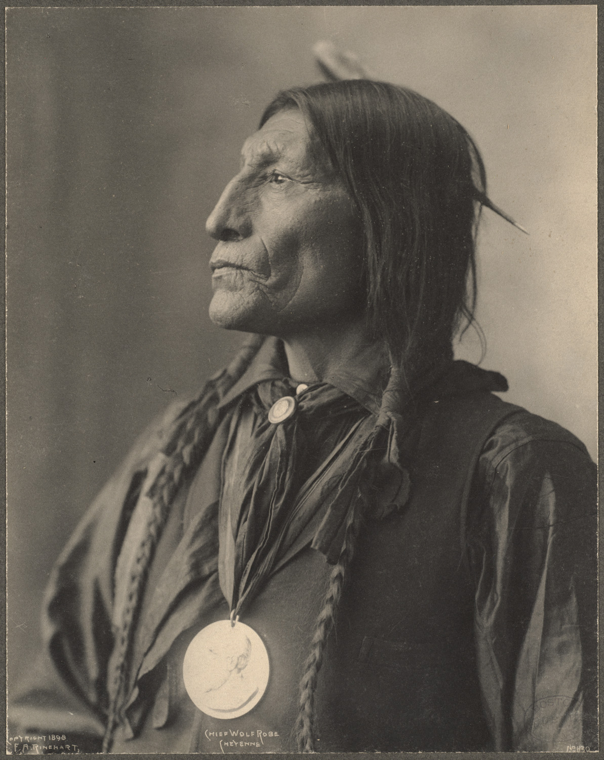 Chief Wolf Robe, Cheyenne, 1899. (Photo by Frank A. Rinehart)