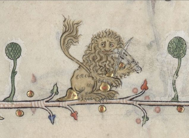 Weird Medieval Art - Breviary of Renaud de Bar, France, 1302-1303 - Lion Playing Violin