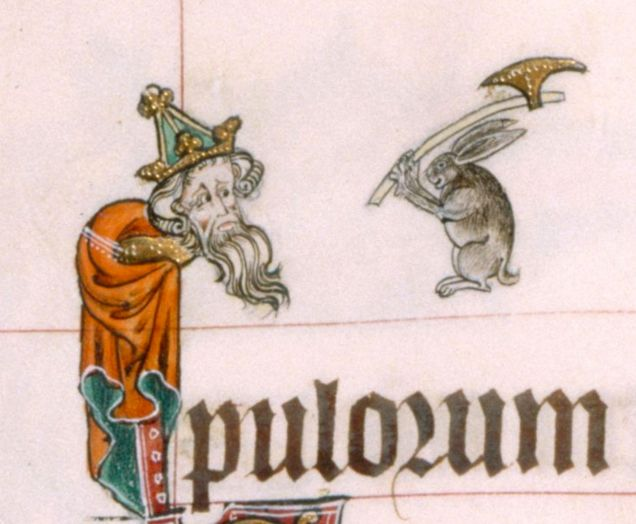 Weird Medieval Art - Rabbit With Axe - Gorleston Psalter, England, 14th century