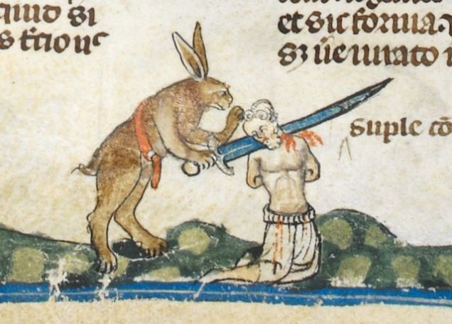Weird Medieval Art - Rabbits killing men in The Smithfield Decretals 1300 b