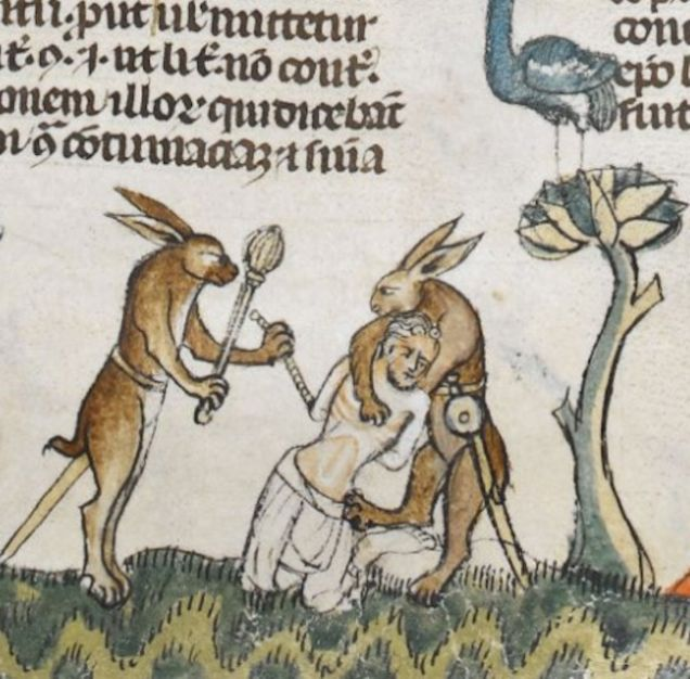 Weird Medieval Art - Rabbits killing men in The Smithfield Decretals 1300