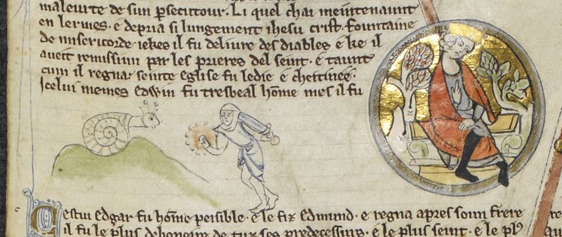 Weird Medieval Art -Snail vs Knight - 14th Century Royal Roll Call