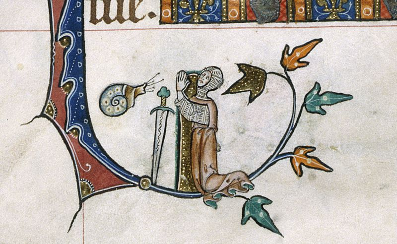 Weird Medieval Art -Snail vs Knight - Gorleston Psalter Suffolk, 1310-1324