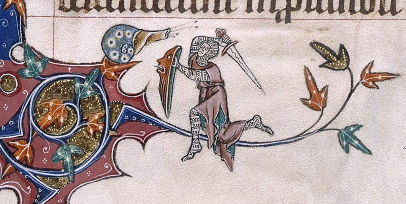 Weird Medieval Art -Snail vs Knight - Gorleston Psalter, Suffolk, 1310-1324
