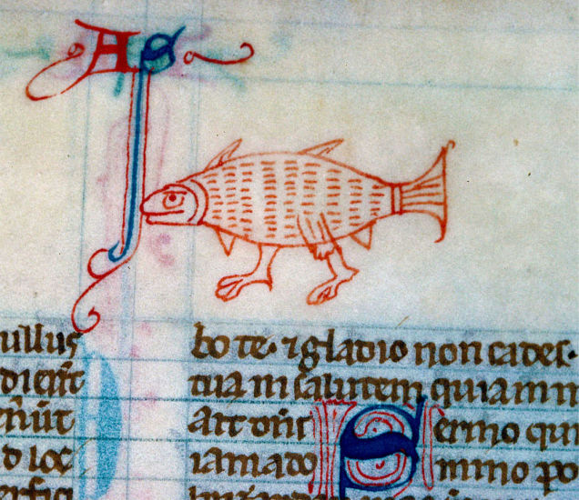 Weird Medieval Art - Walking Fish from a 13th-century English Bible