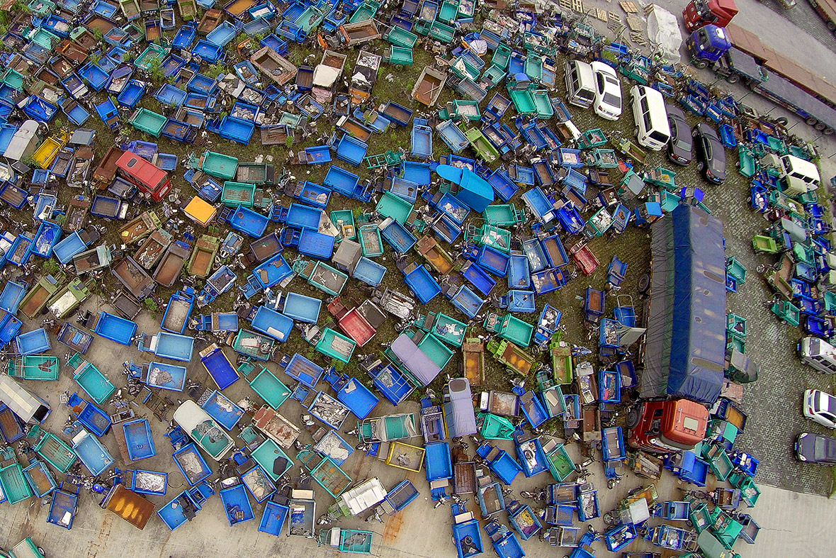 Beijing High Emission Car Graveyard - Lorries From Above
