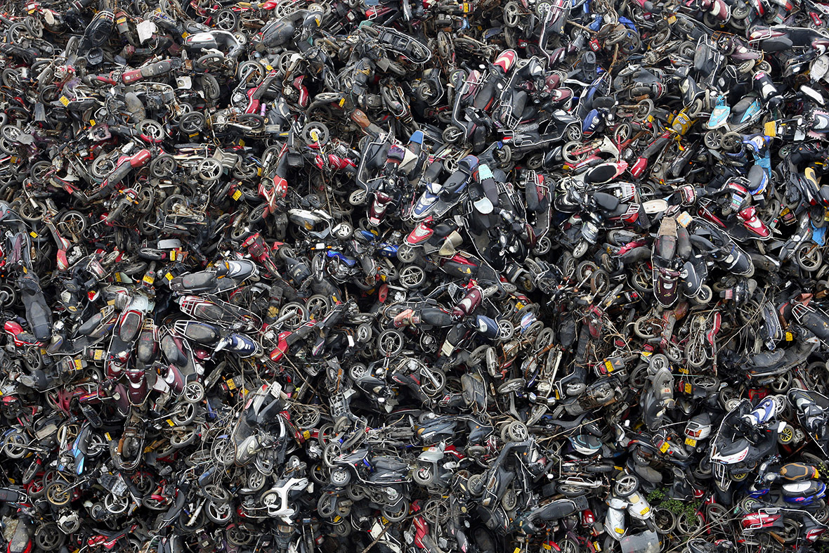 Beijing High Emission Car Graveyard - Scooters Piled Up