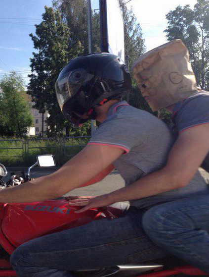 Funny Russian Pictures - Paper Bag Helmet