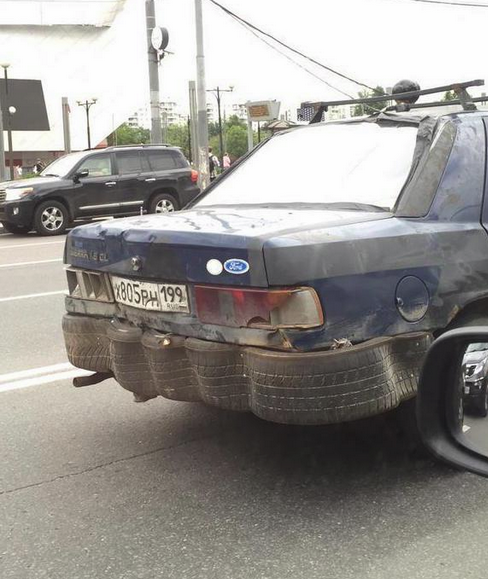 Funny Russian Pictures - Tyre Bumper Fix