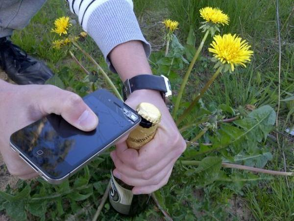 Awesome Photos Russia With Love - Opening Beer With iPhone