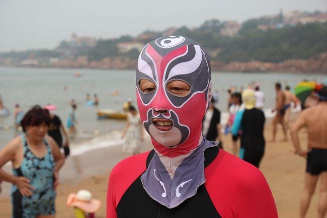 Facekini Qingdao - Chinese Peking Opera being worn