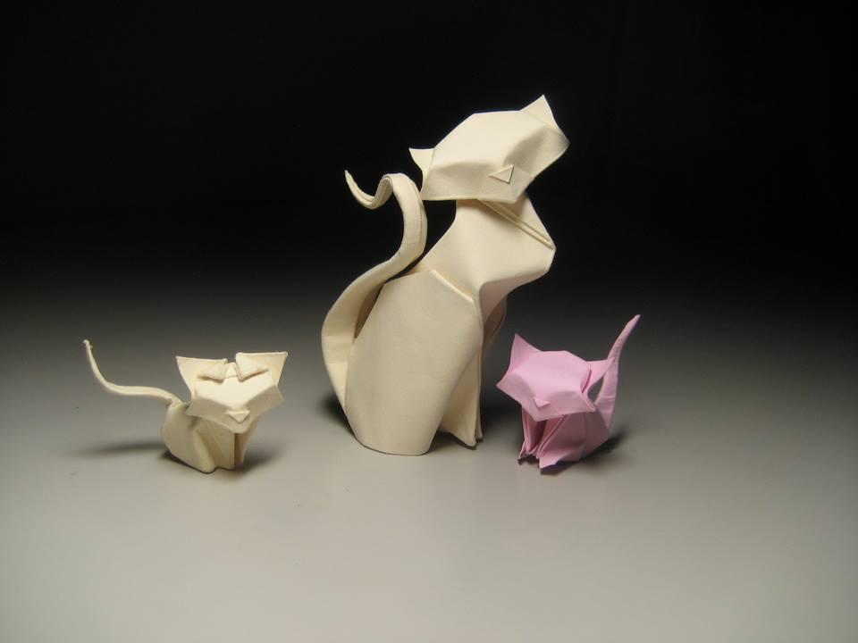 Hoàng Tiến Quyết Wet Fold Origami Cats