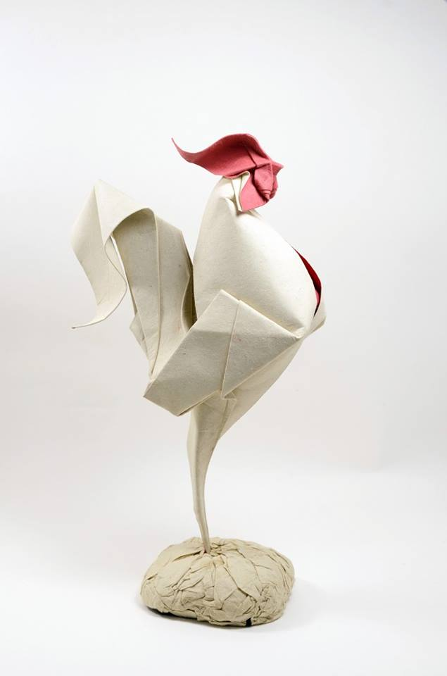 Hoàng Tiến Quyết Wet Fold Origami Rooster
