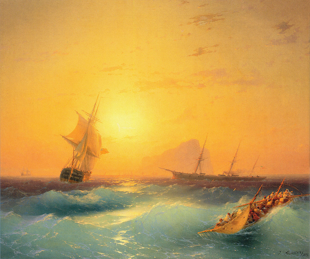 Ivan Aivazovsky - Sea Painter - American Shipping off the Rock of Gibraltar - Copy