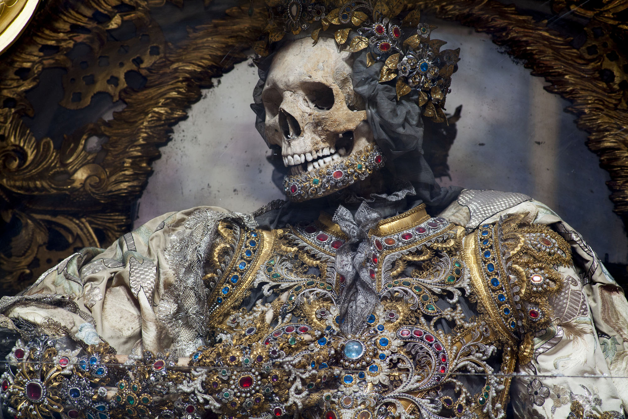 - Waldsassen, Germany, detail of St. Gratian. The Basilika at Waldsassen holds the largest extent collection of presumed skeletons of martyrs from the Roman Catacombs still on display. There are ten ful -