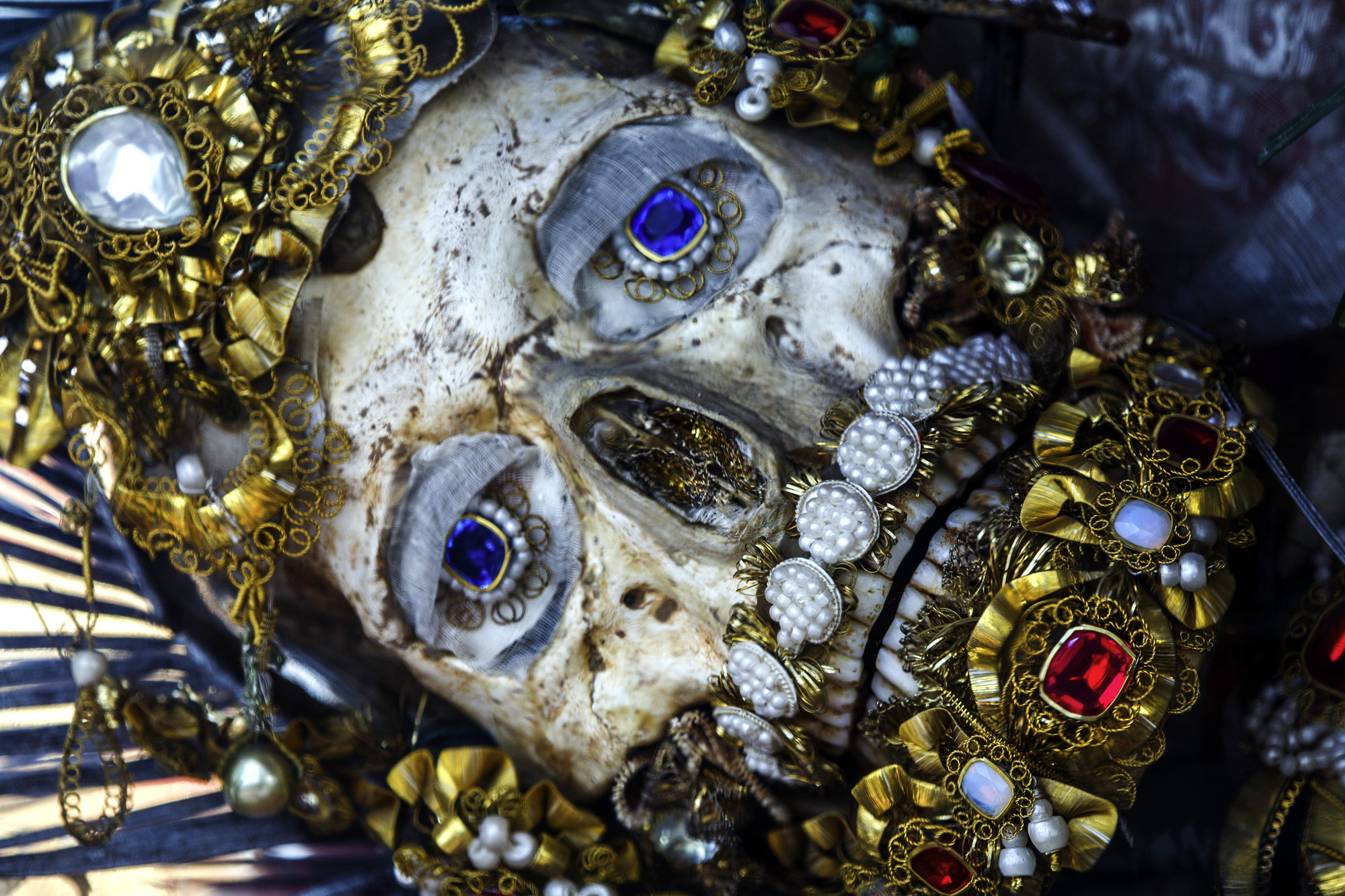 - Weyarn, Germany, St. Valerius skull detail. The elaborately decorated relic of the presumed martyr from the Roman Catacombs arrived in the town's monastery church in the early 18th century. An entire -