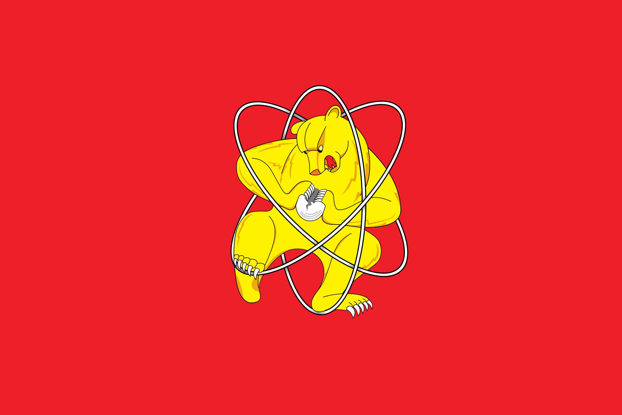 Zheleznogorsk Flag - Bear Wrestling Atom