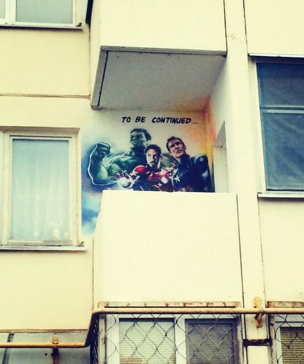 Hilarious Balconies - Avengers Graffiti