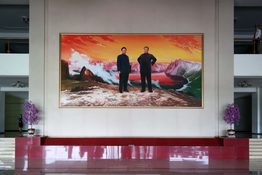 North Korea DPRK Buildings - Painting of the Kims