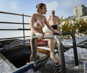 Ice Bathing On The Border Of China And Russia
