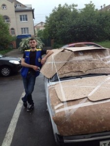 Protecting Car From Hail - Cardboard And Tape