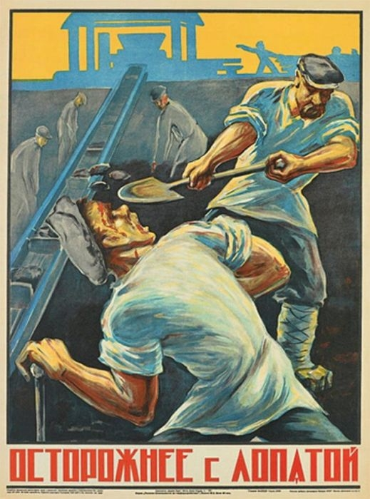 Russia Health And Safty Posters - Shovel Smashed Face