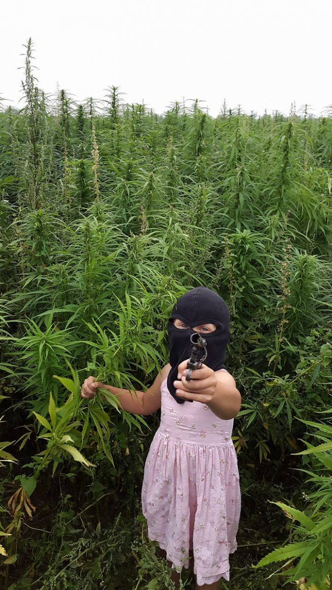 Awesome Russia - Little Girl Balaclava Weed Field Gun