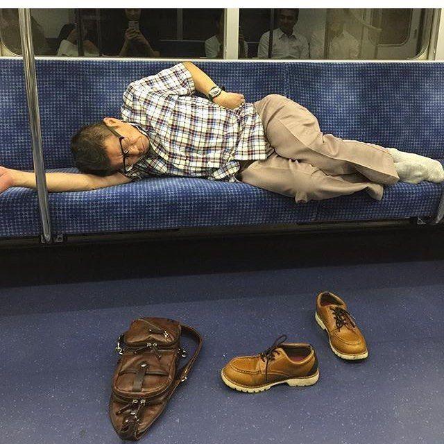 Japanese Sleeping In Public 12