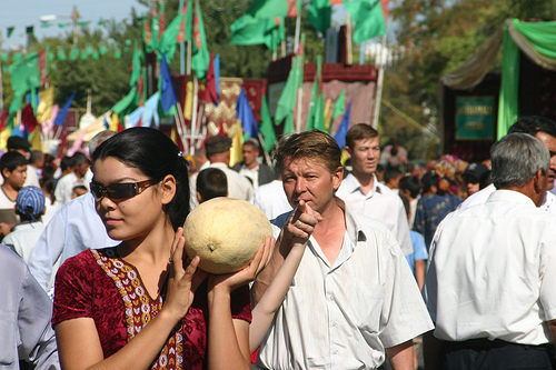 Turkmenistan Melon Day - Lady Holding Melon