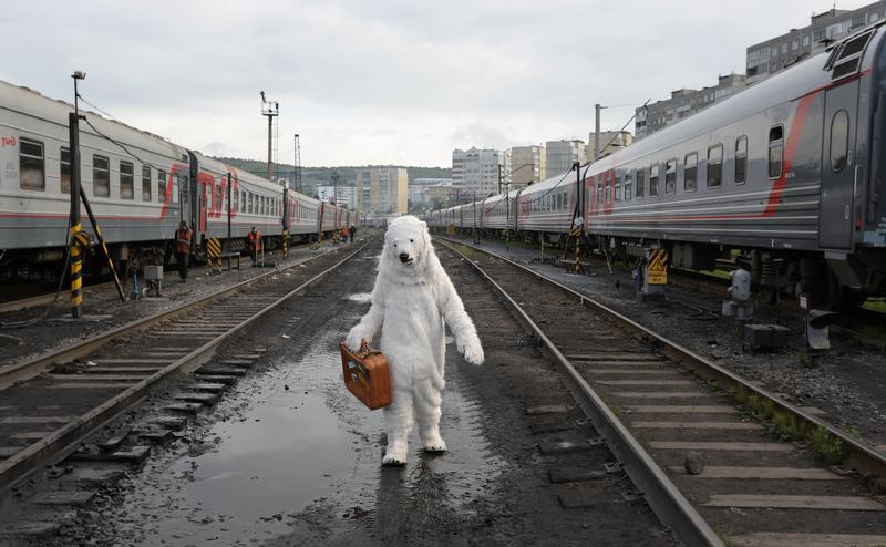 Awesome Russia - Man Polar Bear Train Track