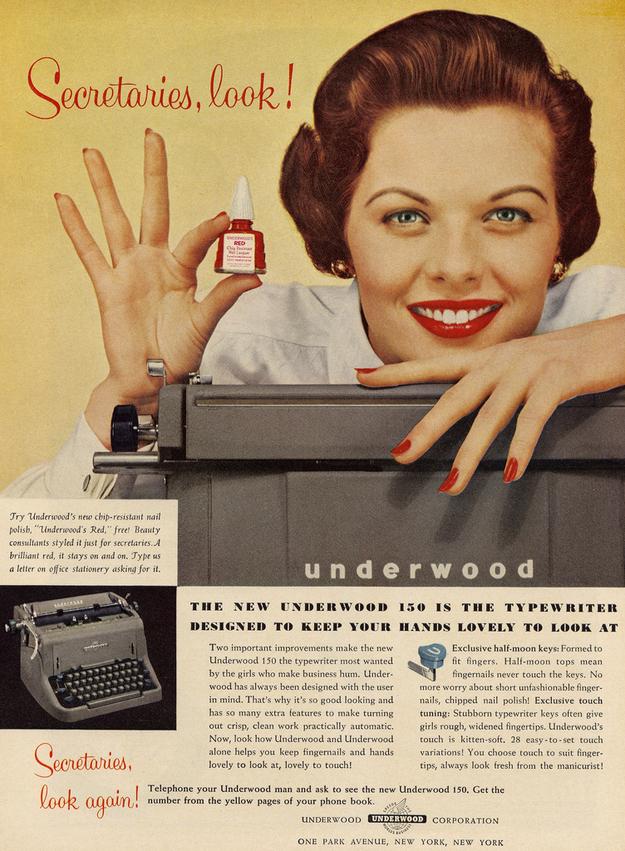Sexist Advert Typewriter Nail Polish
