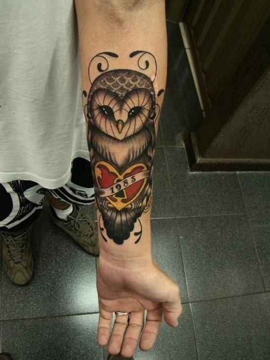 Owl Tattoo Forearm 1985 Lazer Horse